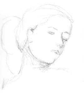 Gesture drawing of a woman with a ponytail