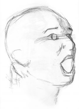 Gesture drawing of a man, mouth open