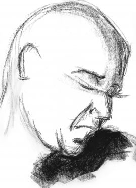 Gesture drawing of a man, head turned towards the left
