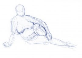 Gesture drawing of a woman lounging 1