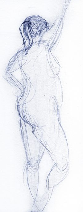 Gesture drawing of a woman standing with hand on hip