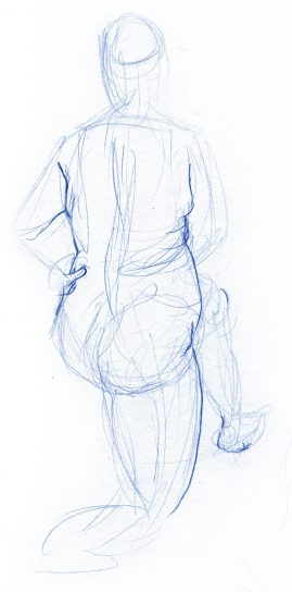 Gesture drawing of a woman on one knee, facing away