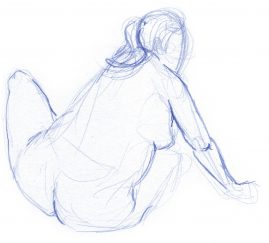 Gesture drawing of a woman sitting, twisting to her right