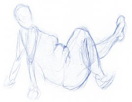 Gesture drawing of a woman posed on the ground