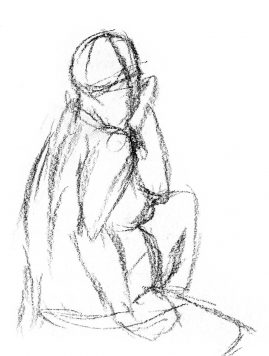 Gesture drawing of a woman, turning towards the right, face propped on hand