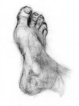 Long gesture drawing of a foot