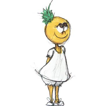The final character concept design of Ana, the pineapple girl, standing sweetly with her hands behind her back