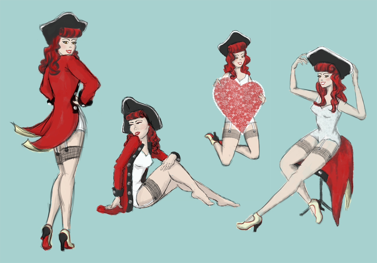 Final colored sketches of pin-up poses for Capitol Bombshell