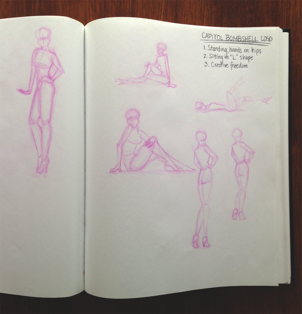 pencil sketches of pin-up poses