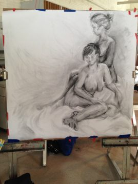 Long Pose Duo gesture drawing in charcoal - March 2014