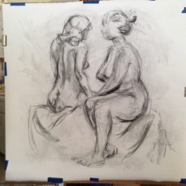 Medium Pose Duo gesture drawing in charcoal - March 2014