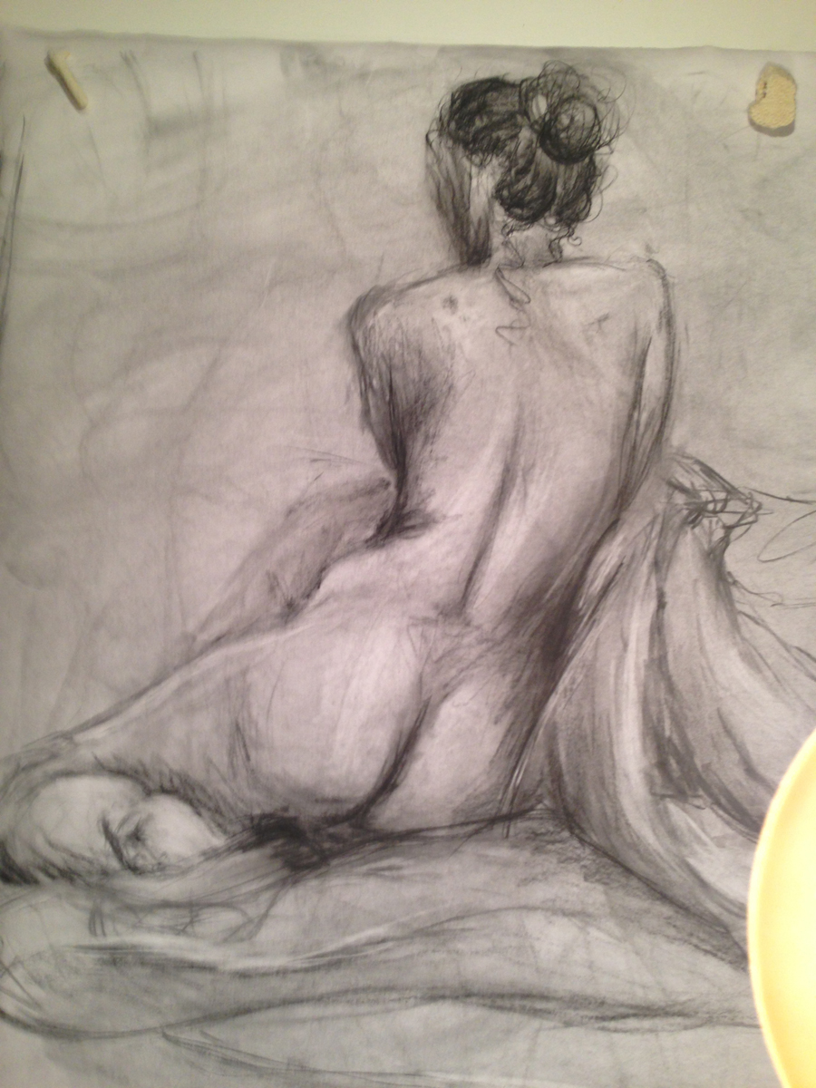 Medium Pose Single gesture drawing in charcoal - March 2014