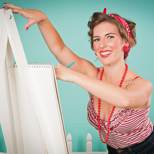 Angela at easel - square