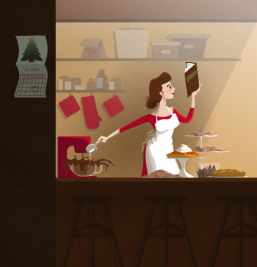 Blissfully baking illustration