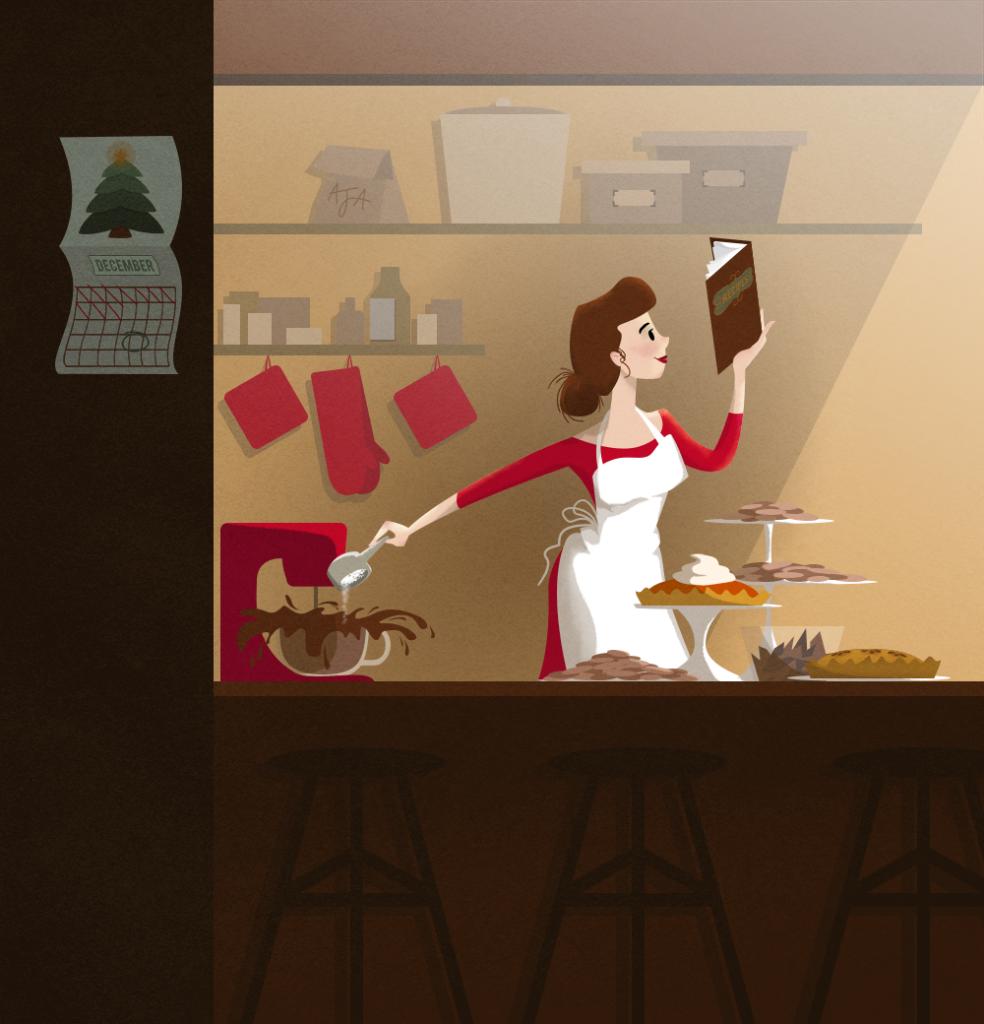 Blissfully baking illustration