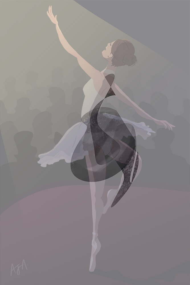 Cup O' Doodle - Ballerina on stage illustration with scribble overlay
