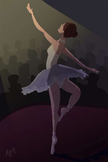Cup O' Doodle - Ballerina on stage illustration