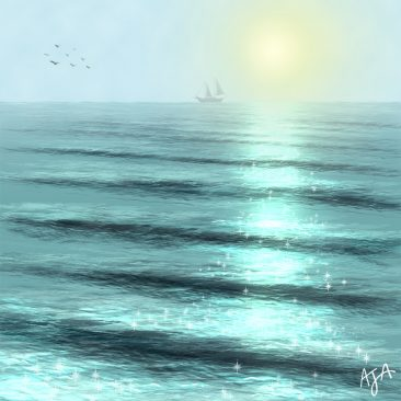 Oceanscape with a boat illustration