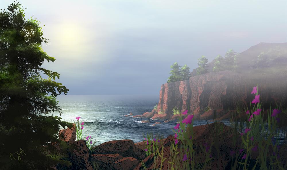 Foggy Morning on the Rocky Maine Coast illustration